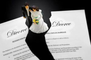 divorce paperwork cake topper