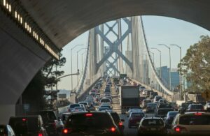 Massive traffic jam In the early morning on the Bay Bridge